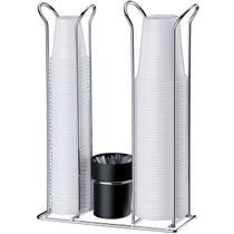 Suporte Porta Copos Descartáveis 200 E 50/80 ml Com Porta Colheres - Aço - Future