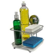 Suporte Porta detergente sabão e Esponja Cromado Fixação a Vácuo Ventosas Future -