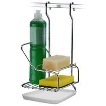 Suporte Porta Detergente Sabão E Esponja Para Barra De Cozinha - Aço Cromado - Future
