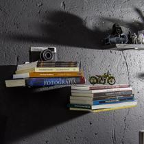 Suporte Porta Livros - Invisível - Inox Escovado - De Parede - Maxx Diamond