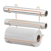 Suporte Porta Rolos Gold Papel Toalha PVC e Alumínio - Cód 05724 -