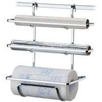 Suporte Porta Rolos Triplo Papel Toalha Alumínio e PVC Luxo - Future