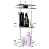 Suporte porta shampoo condicionador de canto de parede 3 andares aço cromado - ArtBella