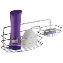 Suporte Porta Shampoo Sabonete Multiuso Luxo Em Aço Cromado - Zanline