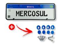 Suporte Protetor Moldura Placa Carro Mercosul Com Lacres e Parafusos - ISJ