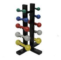 Suporte Torre Chão Estante Expositor 10 Halteres De Peso - Kl Master Fitness