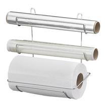 Suporte Triplo para rolo de papel toalha aluminio e filme em aço cromado Passerini -