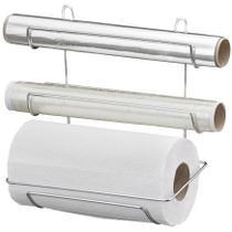 Suporte Triplo Porta Rolo De Papel Toalha Papel Alumínio E Filme Plástico Cromado Passerini 1284-5 -
