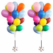Suporte Varetas P/ 20 Bexigas Balão Imitam Gás Helio 2 Bases - Jjveras