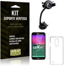 Suporte Ventosa Auto LG K10 Novo Suporte + Capa Silicone + Película Vidro - Armyshield -