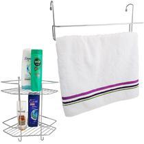 Suportes Banheiro Porta Shampoo Toalheiro Duplo Encaixe Box - Nacional