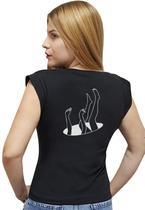 """T-shirt Feminina Casual 100% Algodão Estampa """"Buraco Negro"""" Avalon CF01 Opções de Cores - Stefanello"""