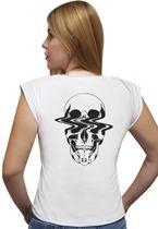 """T-shirt Feminina Casual 100% Algodão Estampa """"Caveira Bala"""" Avalon CF01 Opções de Cores - Stefanello"""