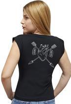 T-shirt Feminina Casual 100% Algodão Estampa Coração Avalon CF01 Opções de Cores - Stefanello