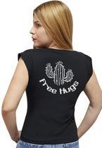 T-shirt Feminina Casual 100% Algodão Estampa Free Hugs Avalon CF01 Opções de Cores - Stefanello