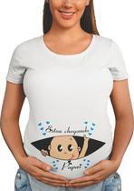 T-Shirt Gestante Estou Chegando Papai Chá De Bebê Grávida Azul bebê - Del France