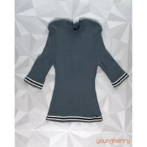 T-Shirt Tricot Canelado Casual Minério P - Bana Bana