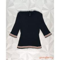 T-Shirt Tricot Canelado Casual Preto M - Bana Bana