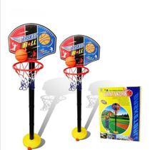 Tabela cesta de basquete rede infantil desmontavel regulavel até 115cm com bola e bomba criança - Makeda