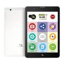 Tablet DL TabFácil para Idosos com SOS, lazer, bate-papo, saúde, ligações, jogos e 3G - Branco -