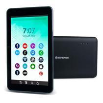 "Tablet Everex Quad Core, Tela 7"", 1GB RAM, 16GB, Android 8.1 - Preto -"
