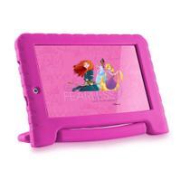 Tablet Infantil Disney Princesa Kids Plus Multilaser NB308 Capa Emborrachada Rosa 16GB Bluetooth Wi-Fi -