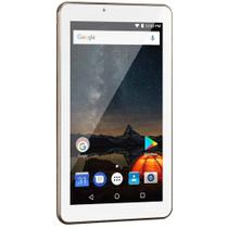 Tablet M7S Plus Wi-Fi e Bluetooth Quad Core Memória 16GB 7 Pol. Câmera Frontal 1.3MP e Traseira 2.0MP 1GB RAM Android 8.1 Dourado Multilaser NB301