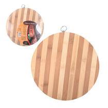 Tabua de corte de madeira / bambu multiuso redonda do chef 30cm - Wellmix