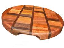 Tabua de madeira maciça marchetada redonda feita a mão - Artesanal