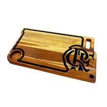 Tabua madeira para churrasco artesanal flamengo 60x35cm - rondo arts -