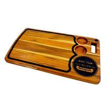 Tabua madeira para churrasco decorada artesanal 60x35cm com frase aqui tem o melhor churrasqueiro - Rondo Arts