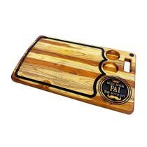 Tabua madeira para churrasco decorada artesanal com frase melhor pai do mundo 60x35cm - rondo arts -