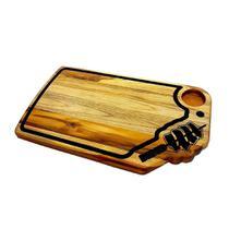 Tabua madeira para churrasco decorada artesanal espeto com carne 60x35cm - rondo arts -