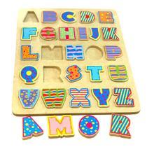 Tabuleiro Alfabeto Letras em Madeira - 19 - TopToy Brasil - Top toy