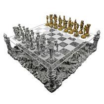 Tabuleiro de xadrez Luxo Cavaleiros Medievais 3D 32 peças. - Verito
