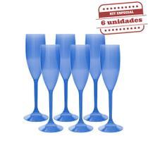 Taça Champanhe Acrílico Azul Neon 150ml 6 unidades Bezavel - Festa Box