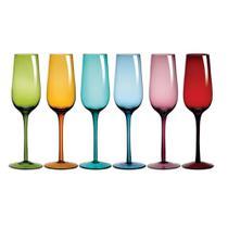 Taça de champagne 6 peças vidro colorido riserva drops 250ml -
