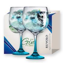 Taça de Gin Degrade de Vidro 650ml Azul 2 Pcs - Ruvolo