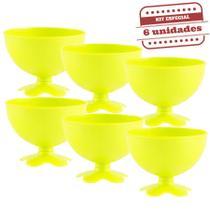Taça de Sobremesa Acrílica Amarelo Neon Leitoso 400ml 6 unidades Bezavel - Festabox