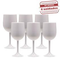 Taça de Vinho Durável Branca Leitosa 290ml 6 unidades Bezavel 4161ad2b263