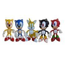 Tails e Sonic Azul, Vermelho, Preto e Amarelo - 5 Bonecos - Super Size Figure Collection