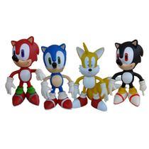 Tails Sonic Azul Sonic Vermelho Sonic Preto - 4 Bonecos - Super Size Figure Collection