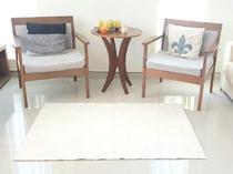 Tapete algodão par Sala/Quarto  - 1,00 x 1,50 - Cor Cru  pelo baixo - Ls Têxtil