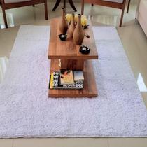 Tapete algodão par Sala/Quarto  - 2,00 x 2,00 - Cor Branco pelo Médio - Ls Textil