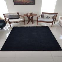 Tapete algodão par Sala/Quarto  - 2,50 x 2,50 - Cor Preto pelo Médio - Ls Textil