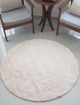 Tapete algodão par Sala/Quarto - Redondo - 1,20 x 1,20 - Cor Cru pelo médio - Ls Têxtil