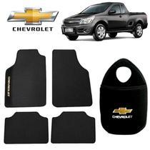 Tapete Automotivo+Lixeira Chevrolet Montana Preto Bordado - Gt