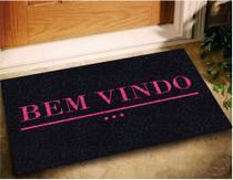 Tapete Capacho Bem Vindo Pink 60x40 - Preto - Megatap