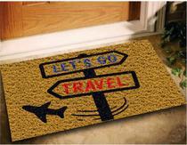 Tapete Capacho Decorativo Lets Go Travel 60x40 Viagem Casa - Megatap