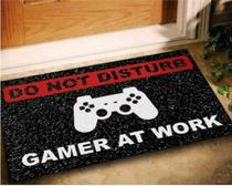 Tapete Capacho Gamer At Work 60x40 - Preto - Megatap